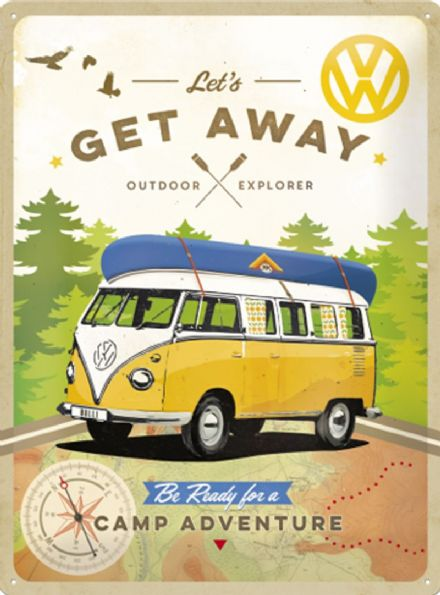 VW Camper  'Let's Get Away' - 3D  Metal Wall Sign